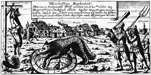 Der Werwolf von Neuses (Marktgrafentum Onolzbach, heute Ansbach). Ein kinderverschleppender Wolf fällt in einen Brunnen und wird von Bauern erschlagen. Das Tier wird anschließend als Mensch verkleidet und gehenkt (zeitgenössisches Flugblatt)