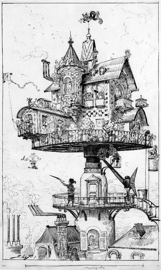 "Early Steampunk: ""Maison tournante aérienne"""