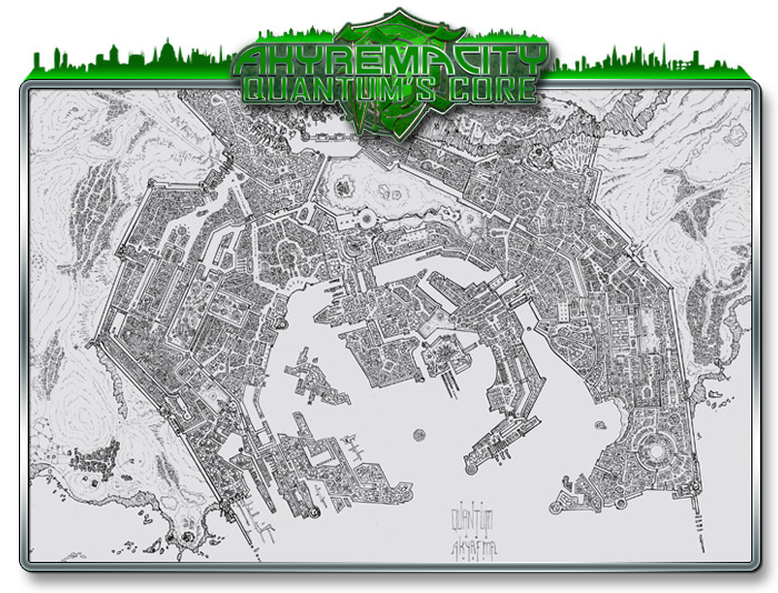 Rough first draft of the Akyrema City map (cartography by Hugo Solis)