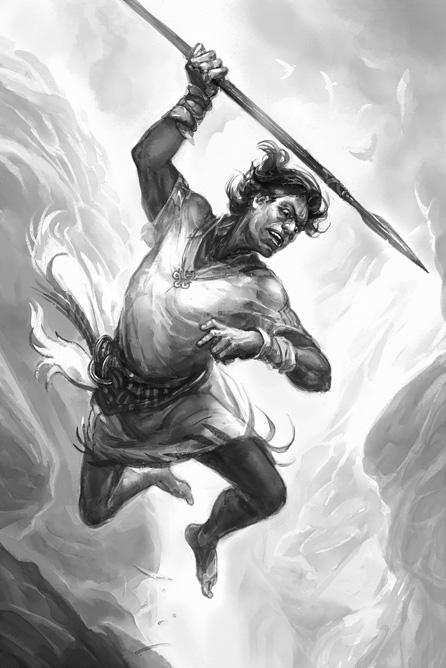 """Hillfolk"": Man throws a Spear (by Jan Pospíšil © Pelgrane Press Used with permission)"