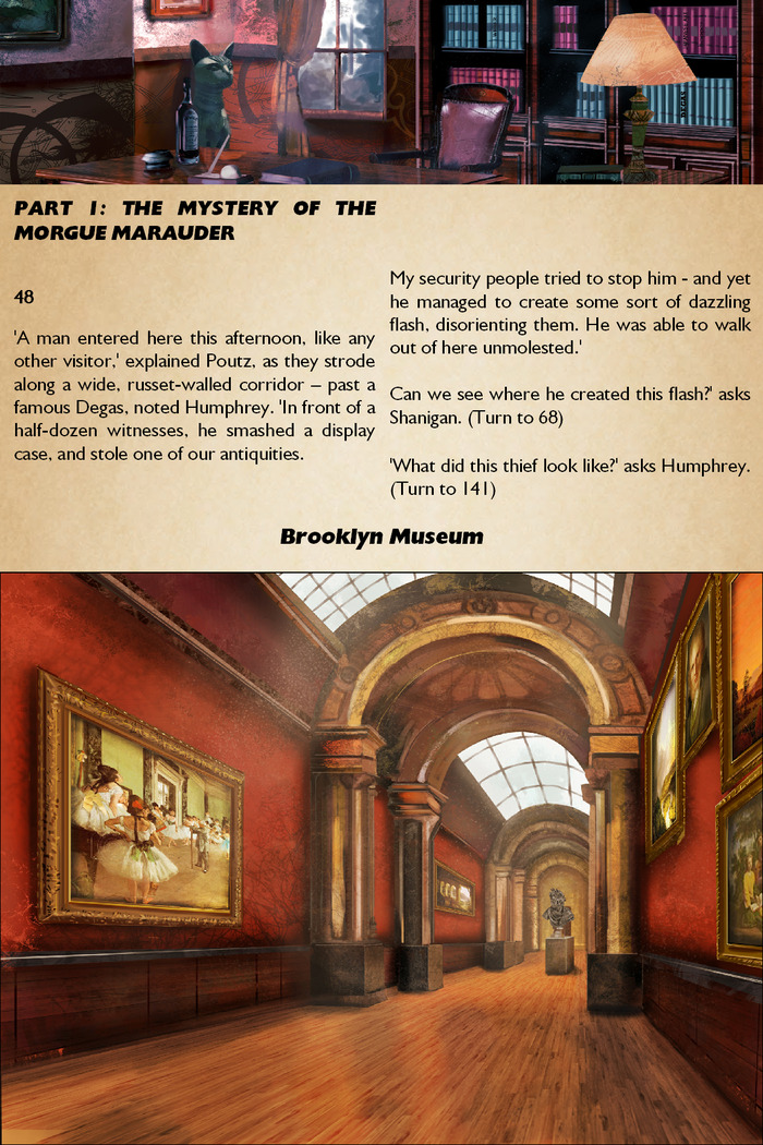 "View from the gamebook ""Arcana Agency: The Thief of Memories"": On the job."