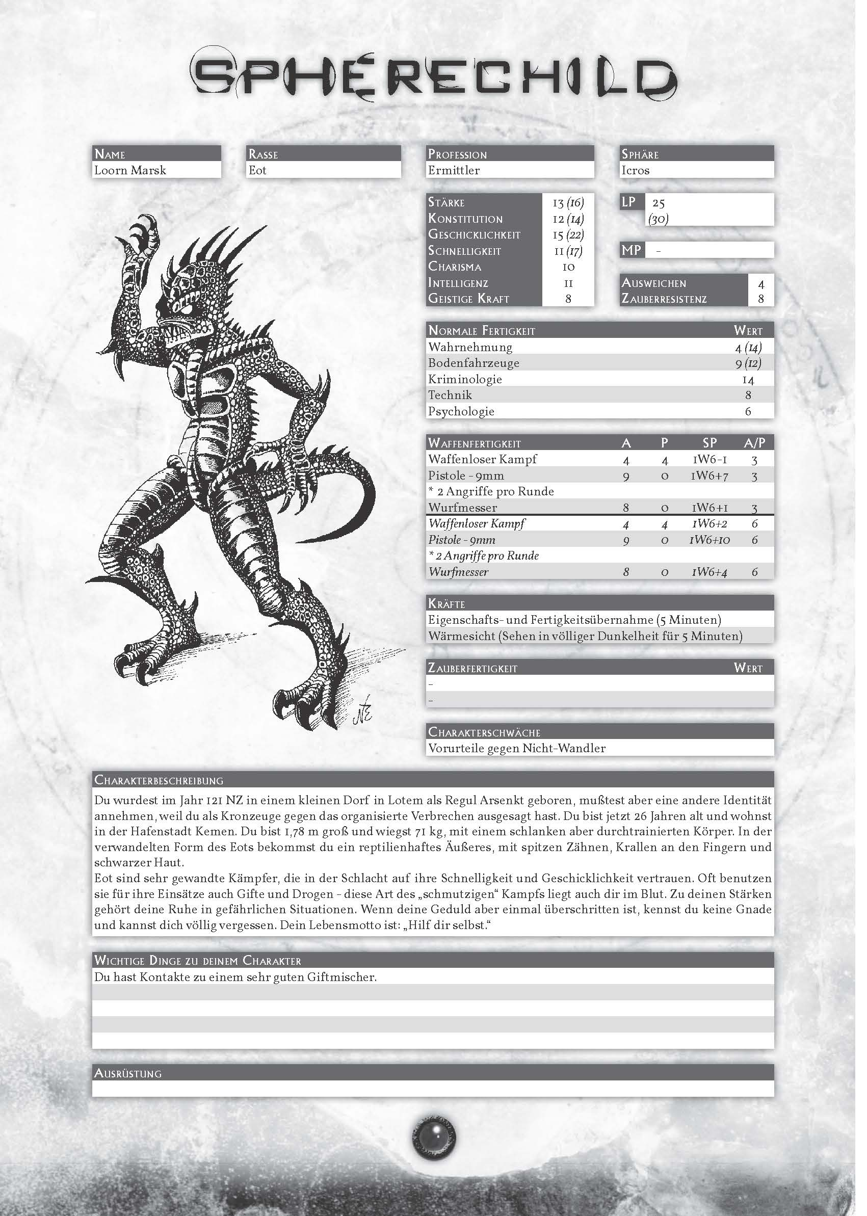 Spherechild-Spielbuch: Beispielcharakter Loorn Marsk