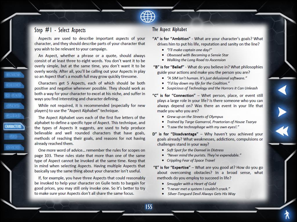 Nova Praxis: Example Page (Aspect Alphabet)