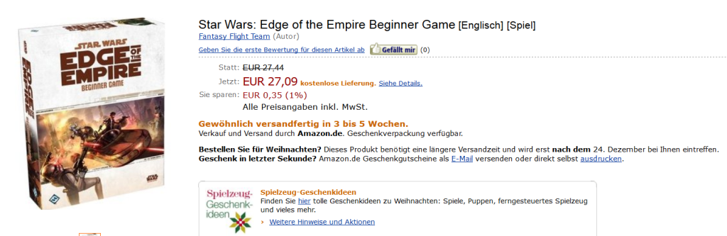 Star Wars(R): Edge of the Empire(TM) Beginner Game via Amazon.de (Stand 22.12.2012)