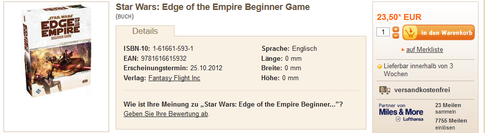 Star Wars(R): Edge of the Empire(TM) Beginner Game via Buch.de (Stand 22.12.2012)