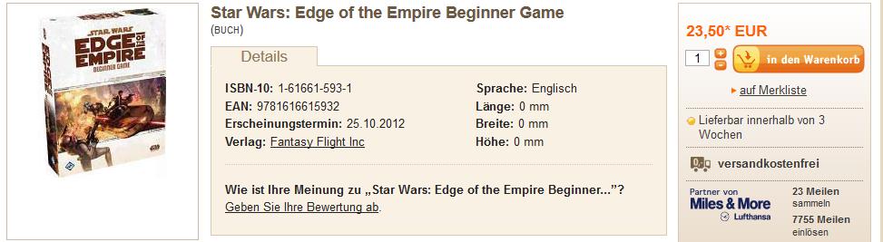 Star Wars(R): Edge of the Empire(TM) Beginner Game via Buch.de (Stand 22.12.2012)