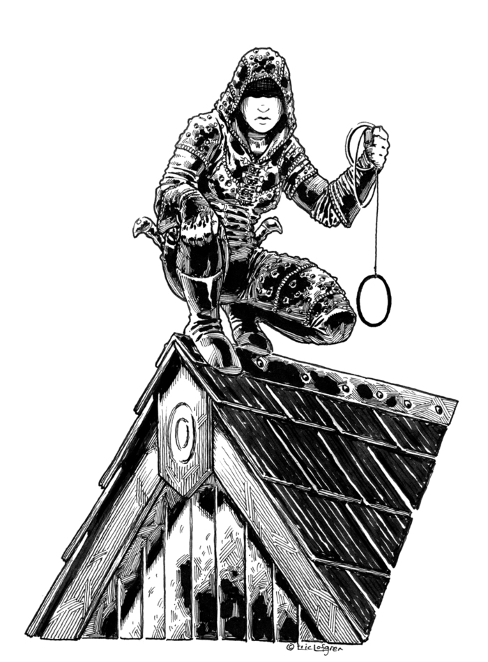 A Gallery of Rogues: Solomon Guild: Rogue on the roof (Eric Lofgren, Post World Games)