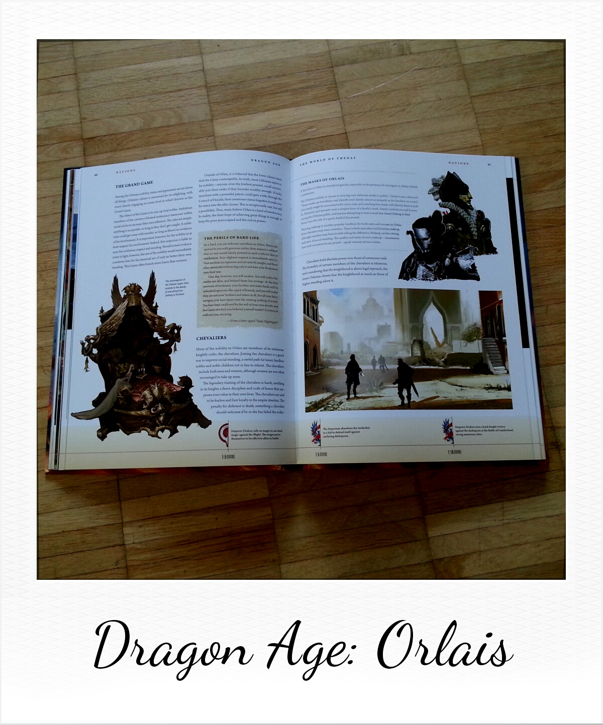 Dragon Age: The World of Thedas - Volume 1 (private picture of some Orlais pages from the book by Dark Horse Comics)