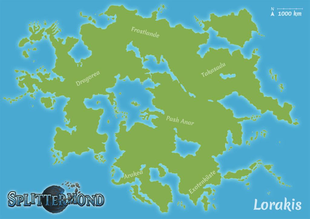 Splittermond: Lorakis mit Teilkontinenten (Uhrwerk Verlag)