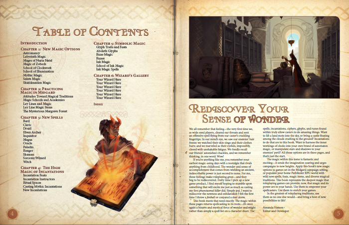 Deep Magic: A Tome of New Spells for Pathfinder RPG: Rough Table of Contents (Kobold Press)