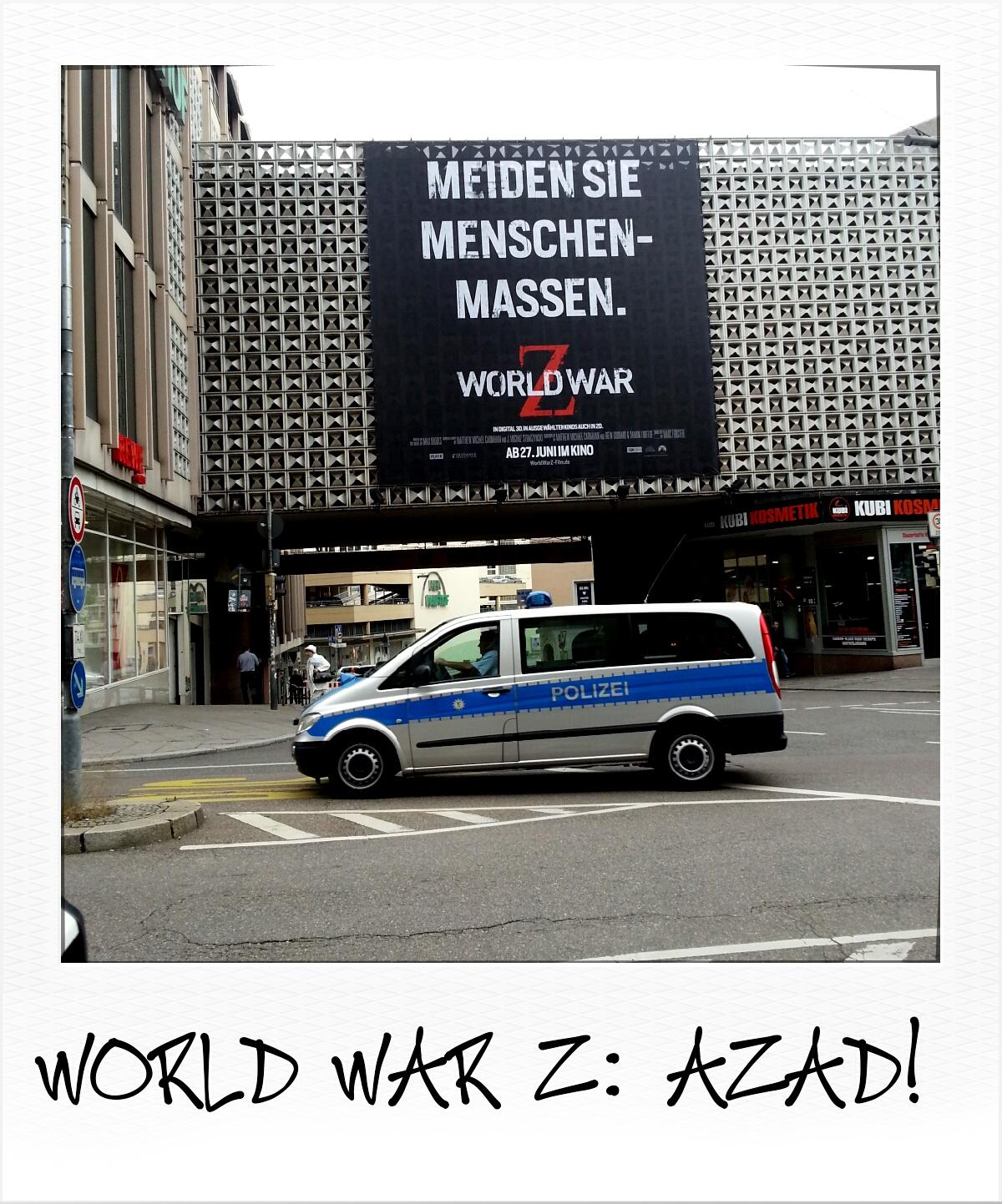 """World War Z: """"Meiden Sie Menschenmassen."""" Gehen Sie nicht ins Kino! (Privates Foto)"""