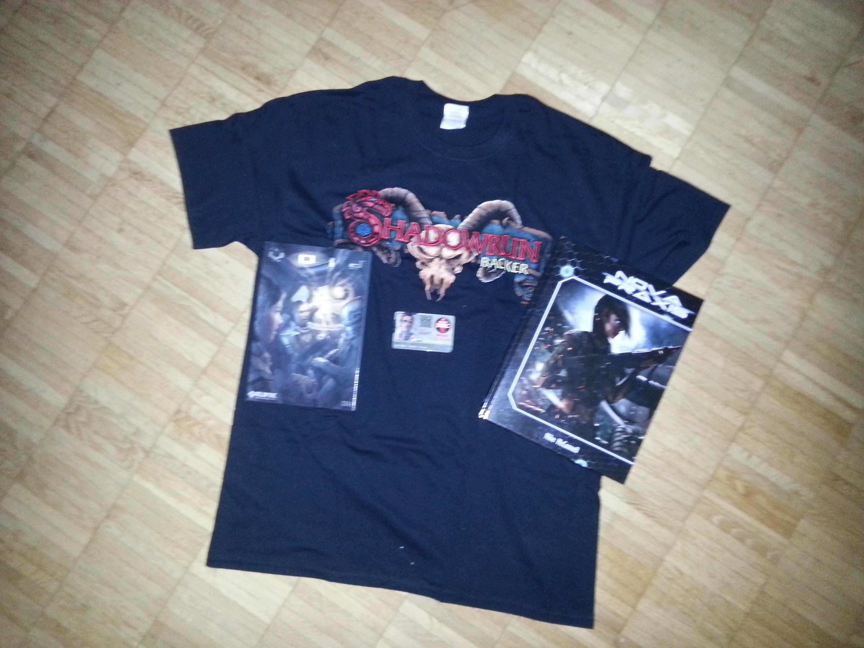 Shadowrun Backer (Shirt, Doc Wagon Card) & Alternativen (Nova Praxis, The Void)