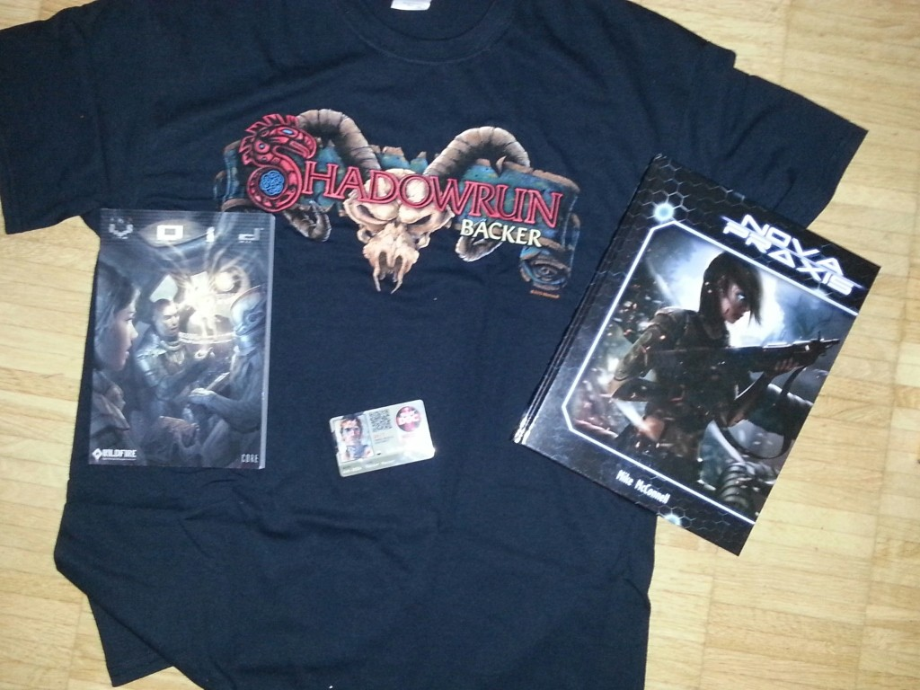 Shadowrun Backer (Shirt, Doc Wagon Card) & Alternativen (Nova Praxis, The Void)