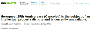Heroquest 25th Anniversary Kickstarter canceled (06. Dec 2013)
