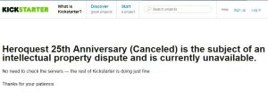 Heroquest 25th Anniversary Kickstarter canceled (06. Dec 2013)