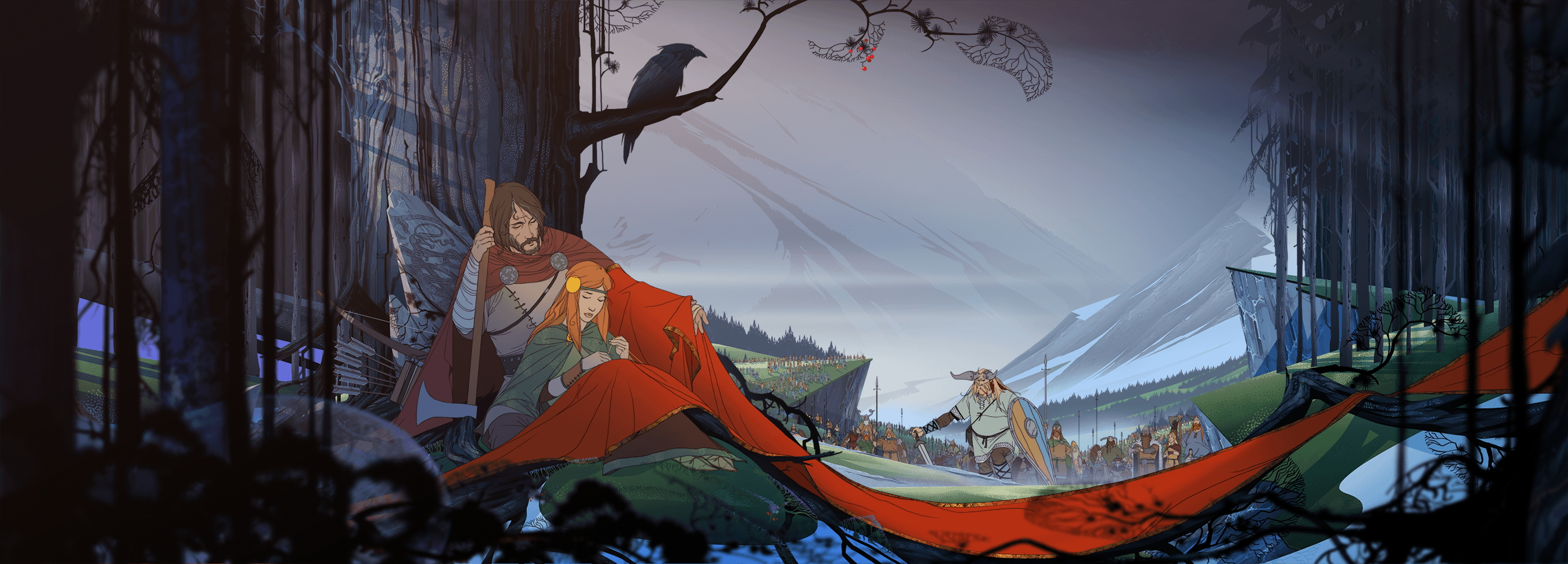 The Banner Saga: Alette and Rook encountering Dredge near Skogr. (Image: Stoic Studio)