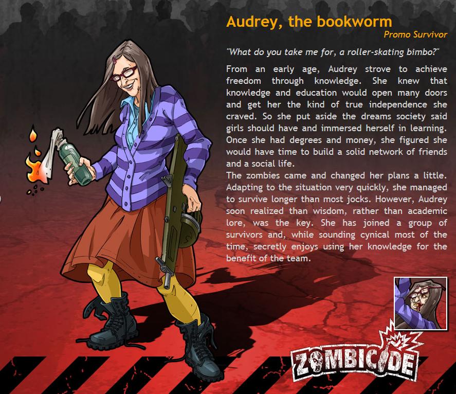 Zombicide - Mapeditor contest: Audrey, the bookworm (Promo miniature, Image: Guillotine Games)