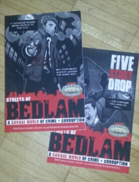 Streets of Bedlam: A Savage World of Crime + Corruption (FunSizedGames, private picture of the Kickstarter books)