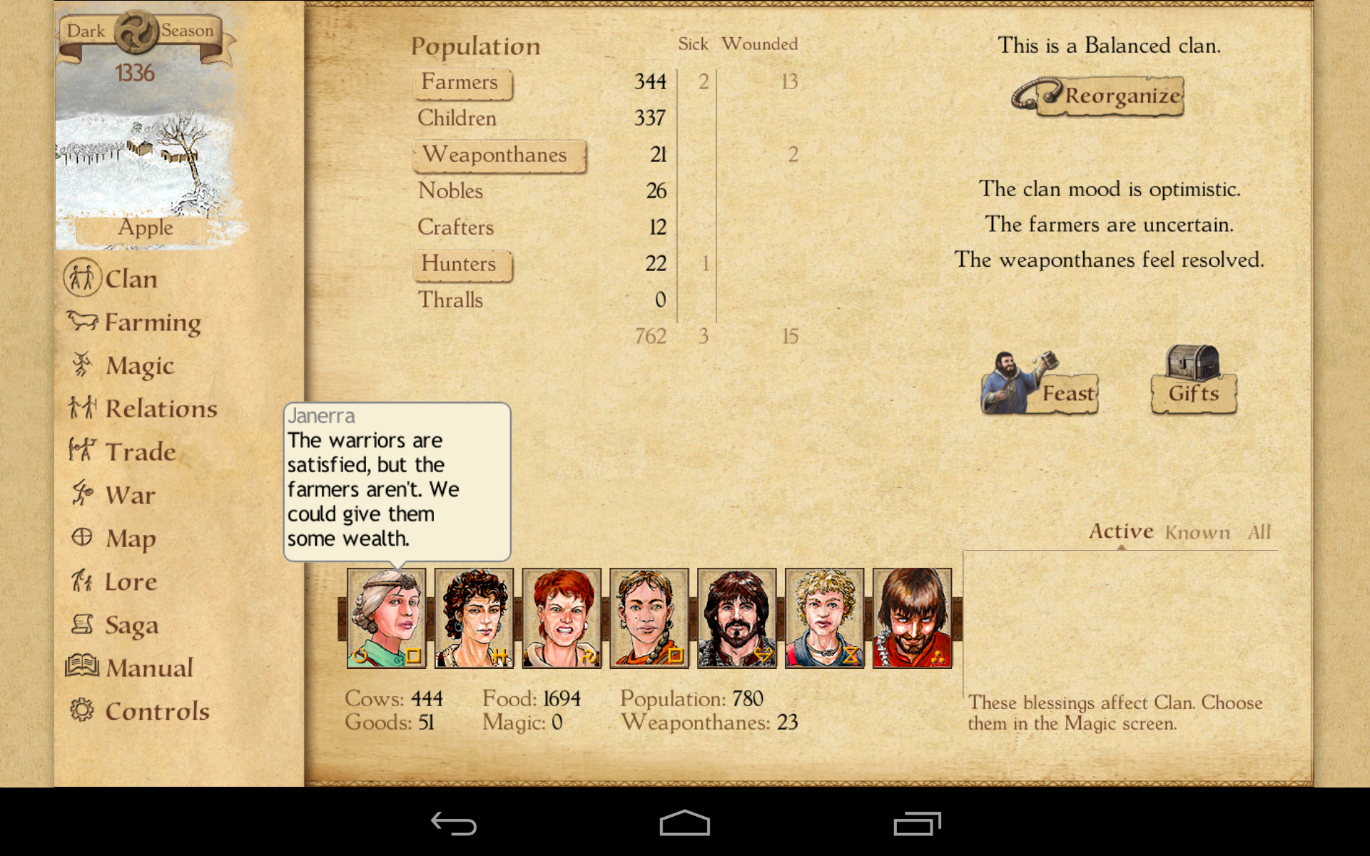 King of Dragon Pass (Android, Image: obskures.de Screenshot of the HeroCraft/A# game)