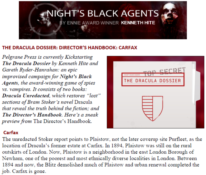 Night's Black Agents – A Dracula Dossier Preview: Carfax (4 pages, PDF - Source: Pelgrane Press)