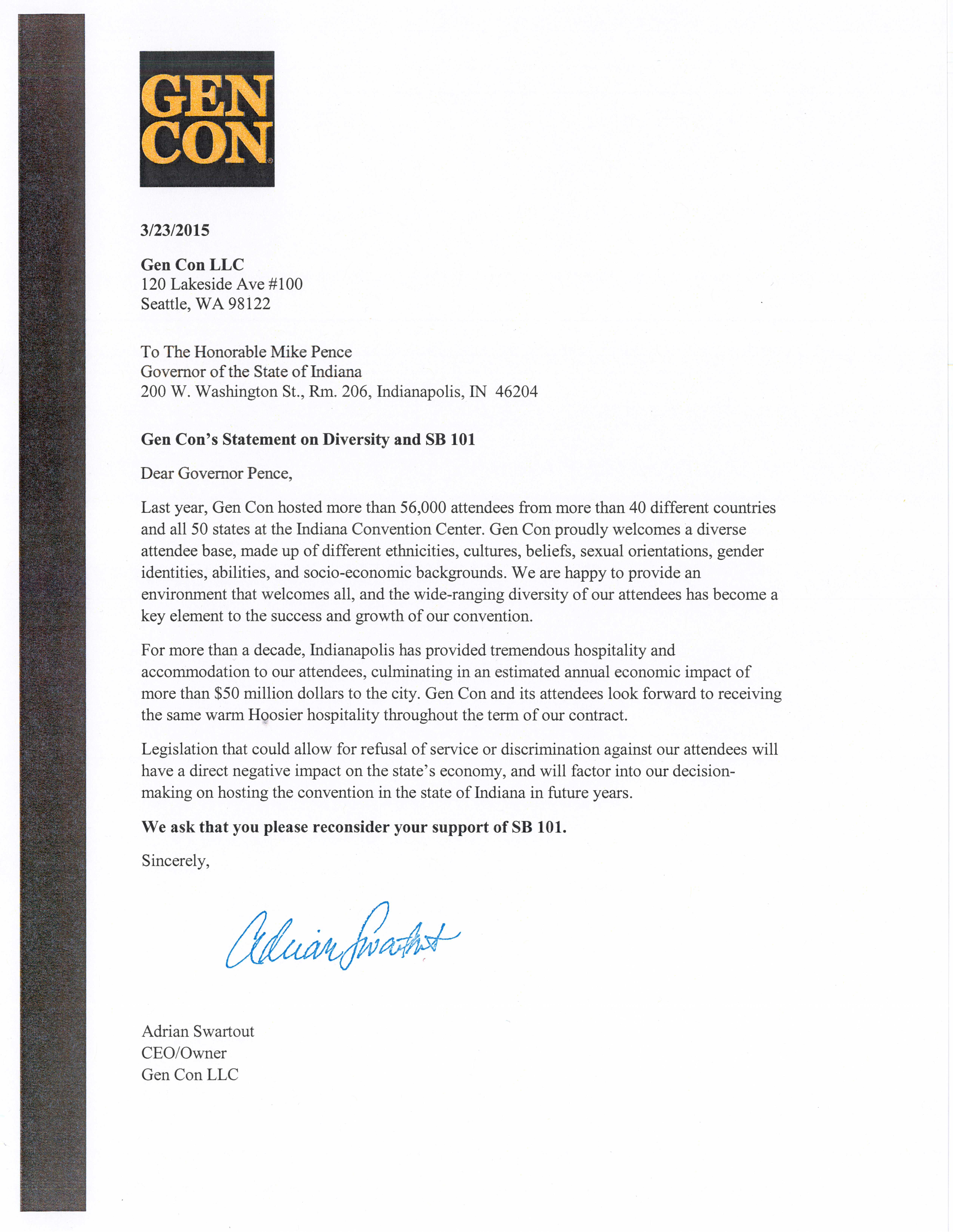 Gen Con Statement Regarding SB 101 (Image: Adrian Swartout)
