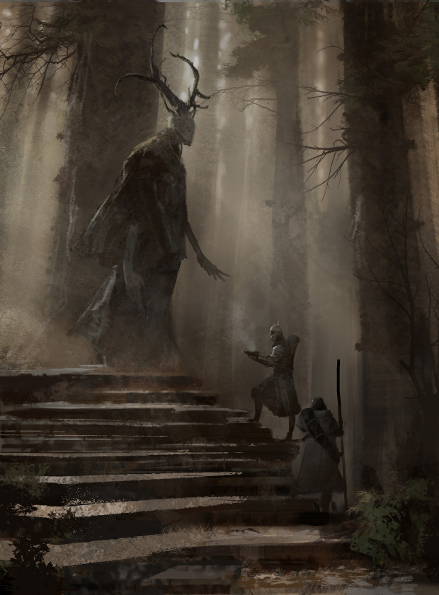"Symbaroum RPG: ""In a towering grove at the southern edge of Karvosti (the ancient meeting place of the barbarian clans) lives Aloéna. The ten feet tall female being, assumed to be related to Davokar's elves, seems to regard humans as if they were nothing more than a passing flock of birds."" ((Image: Järnringen)"