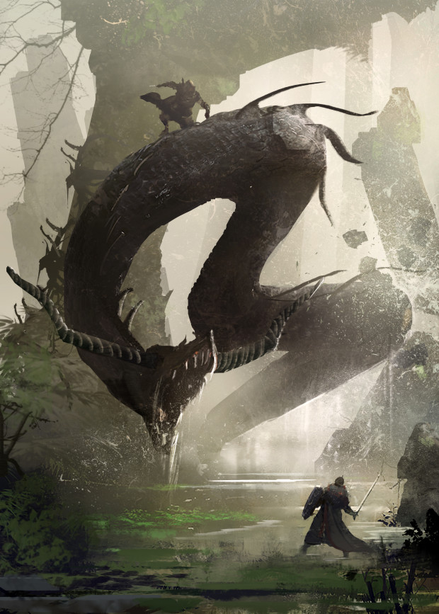 "Symbaroum RPG: ""The Lindworm is one of Davokar's most feared creatures. The few Ambrians who have encountered one and returned to tell about it describe them as ferocious but cunning, even as intelligent. Maybe there is some truth to the rumor that the Gaoia clan is secretly ruled by a Lindworm called Uncle Lint."" (Image: Järnringen)"