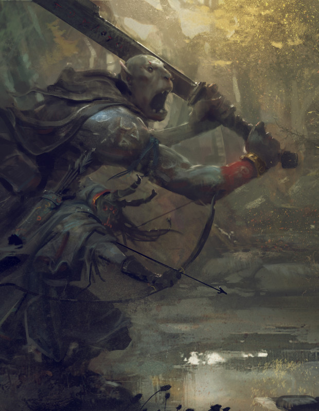 "Symbaroum RPG: ""The ogres emerge fully grown from the depth of Davokar, without memories, without names and without a language to make themselves understood. It is up to the humans who take them in to name them and teach them the ways of the world."" (Image: Järnringen)"