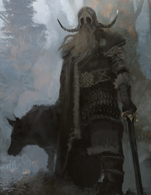 "Symbaroum RPG: ""Chieftain Embersind of clan Odaiova is sometimes seen in Thistle Hold, always in the company of his battle-trained jakaar. The territory of his clan lies between Karvosti and Thistle Hold, making him the barbarian leader who has developed the closest relations to the Ambrians."" (Image: Järnringen)"
