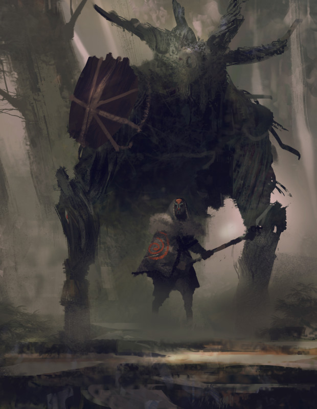 "Symbaroum RPG: ""The witches of the barbarian clans can sometimes be seen riding and fighting alongside the mysterious beasts known as Colossos – huge ox-like creatures with bodies made up of what seems to be wooden fibers."" (Image: Järnringen)"