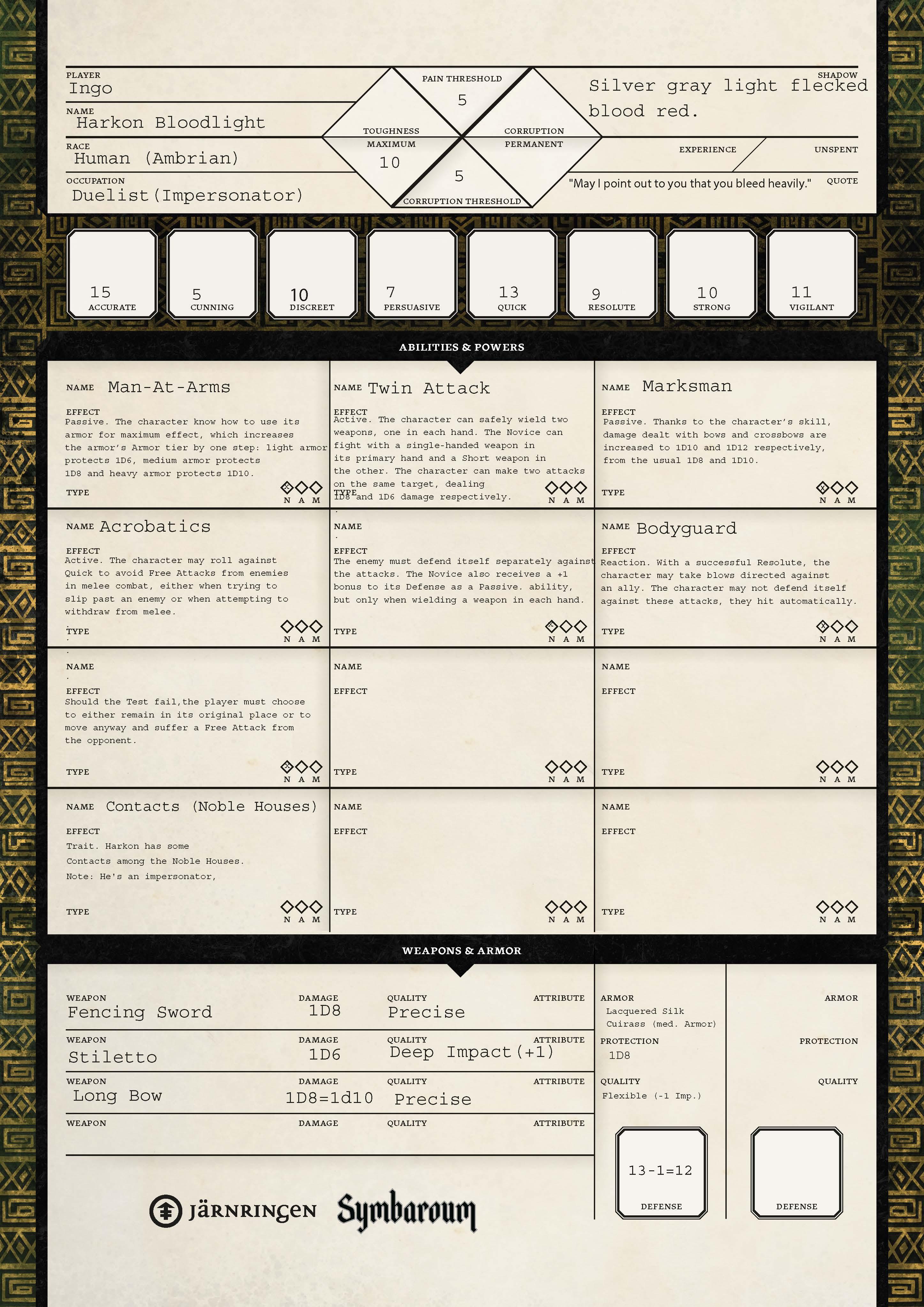 Symbaroum RPG: Harkon Bloodlight (Page 1, Image: Järningen)