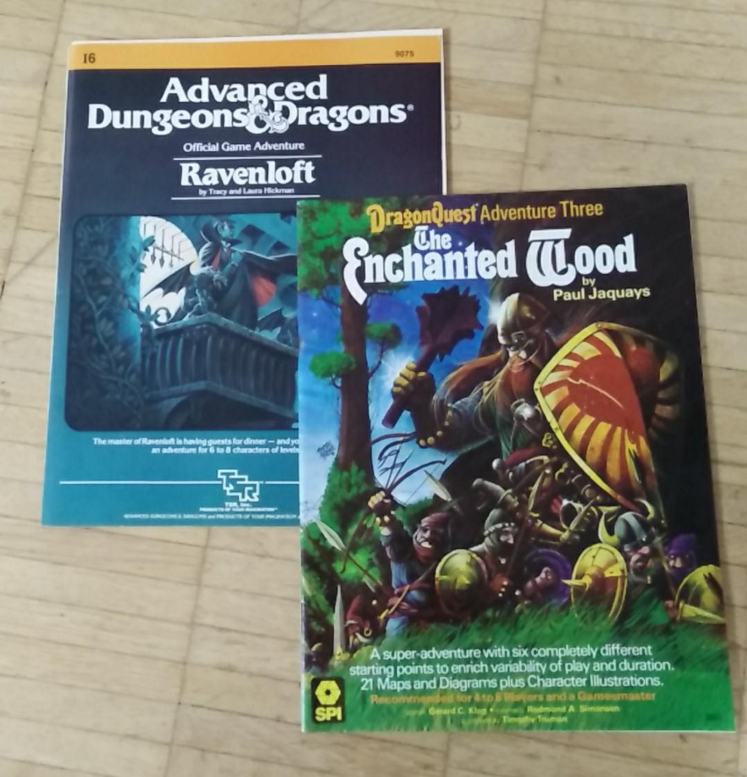 Dragonquest: The Enchanted Wood and AD&D: I6 - Ravenloft (Image: obskures.de Covers: SPI, TSR)
