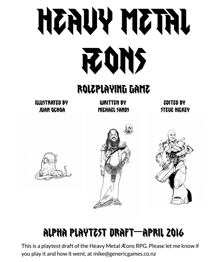 Heavy Metal Æons Roleplaying Game: Alpha Playtest (Image: Michael Sands)