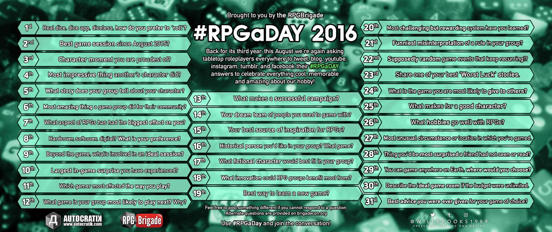 #RPGaDay / #RPGaDay2016 (Image: RPGBrigade / Autocratik)
