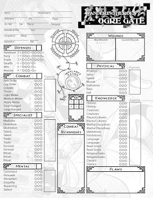 Wandering Heroes of Ogre Gate RPG: Character Sheet (Image: Bedrock Games)