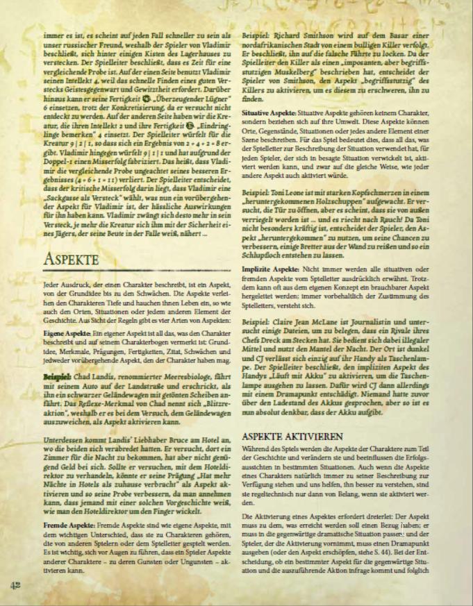 Unausprechliche Kulte - Aspekte (S. 37, Auszug aus der Arbeitsversion. Änderungen vorbehalten) (Cultos Innombrables, Image: Truant Spiele)